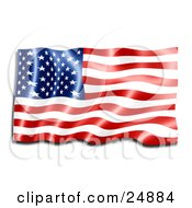 Clipart Illustration Of A Shiny New Red White And Blue American Flag Reflecting Light And Rippling In The Breeze by KJ Pargeter