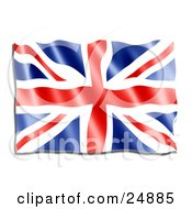 Clipart Illustration Of A Rippling Red White And Blue Union Jack Flag Or The Union Flag
