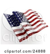 Clipart Illustration Of An American Flag Flapping In The Breeze by KJ Pargeter
