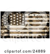 Aging And Stained American Flag With Grunge Textures And Ink Splatters