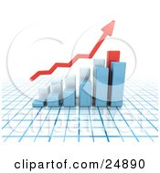 Clipart Illustration Of A Red Increase Arrow Above Blue And Red Bar Graphs On A Blue And White Grid