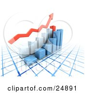 Clipart Illustration Of A Red Arrow Above Blue And Red Bar Graphs On A Blue And White Grid Symbolizing Success by KJ Pargeter