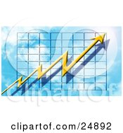 Clipart Illustration Of A Jagged Yellow Arrow With A Shadow Pointing Upwards On A Graph In The Sky