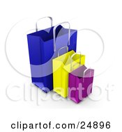 Blue Yellow And Purple Paper Bags With Handles Empty And Expanded Ready For Bagging