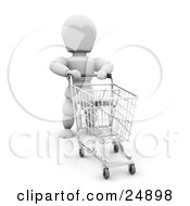 White Character Pushing An Empty Blue Handled Shopping Cart In A Store