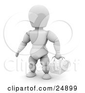 Clipart Illustration Of A Shopping White Character In A Store Carrying An Empty Wire Basket by KJ Pargeter