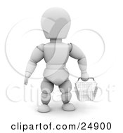 White Character In A Store Facing Front And Carrying An Empty Wire Shopping Basket