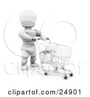 Clipart Illustration Of A White Character Pushing A Blue Handled Shopping Cart In A Store