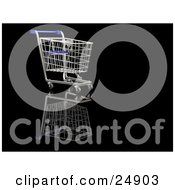 Clipart Illustration Of An Empty Blue And Silver Shopping Cart In A Store Over A Reflective Black Surface