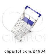 Clipart Illustration Of An Empty Metal Shopping Cart With A Blue Handle In A Store