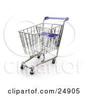 Clipart Illustration Of A Metal Shopping Cart With A Blue Handle In A Store