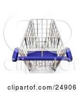 Clipart Illustration Of A Blue Handled Metal Shopping Cart In A Store