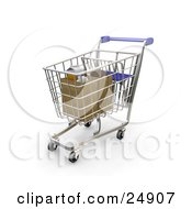 Clipart Illustration Of A Blue Handled Shopping Cart With Groceries Bagged In Two Paper Bags