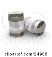Clipart Illustration Of Two Tin Soup Cans Without Any Labels On A White Surface One Standing Upright One On Its Side