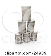 Clipart Illustration Of A Pyramid Of Tin Soup Cans Without Any Labels
