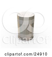 Clipart Illustration Of A Tin Can Without Any Labels Standing Upright On A White Surface