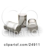Clipart Illustration Of Three Tin Soup Cans Without Any Labels Some Knocked Over On Their Sides One Standing