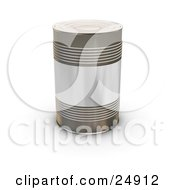 Clipart Illustration Of A Tin Soup Can Without Any Labels Standing Upright On A White Surface by KJ Pargeter
