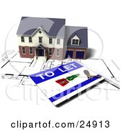 Clipart Illustration Of A Two Story Brick Home With Two Garages On Top Of Blueprints With A To Let Sign