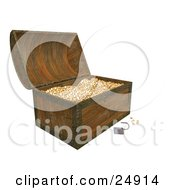 Clipart Illustration Of A Rusted Padlock Resting In Front Of An Open Wood Treasure Chest With Shiny Gold Coins