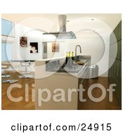 Clipart Illustration Of A Modern Kitchen Interior With Bar Counter Looking Over The Dining Room And Green Cabinets by KJ Pargeter