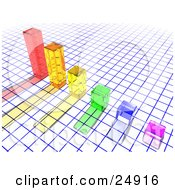 Clipart Illustration Of A Colorful Clear Columns With Shadows In A Bar Graph Over A Blue And White Grid by KJ Pargeter