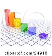 Clipart Illustration Of A Bar Graph Of Colorful Clear Cubes On A Blue And White Grid by KJ Pargeter