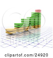 Clipart Illustration Of A Red Green And Yellow Increasing Bar Graph Of Stacked Squares Over A Blue And White Grid