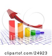 Clipart Illustration Of An Upwards Red Arrow Flying Above A Clear Colorful Bar Graph On A Blue And White Grid Surface