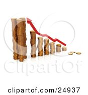 Clipart Illustration Of A Red Increase Arrow Over A Bar Graph Made Of Gold Coins Over White