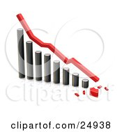 Clipart Illustration Of A Decreasing Chrome Bar Graph With A Red Line And A Broken Arrow On The Bottom Over White
