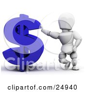 White Character Leaning Against A Blue Dollar Sign Symbol