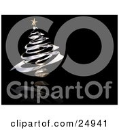 Clipart Illustration Of A Gold Star On Top Of A Chrome Spiral Christmas Tree On A Reflective Black Background