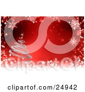 Clipart Illustration Of A Silver Spiral Christmas Tree With Gold Ornaments And A Star Over A Red And White Snowflake Background