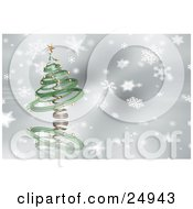 Clipart Illustration Of A Green Spiral Christmas Tree With Gold Ornaments And A Star Over A Gray And White Snowflake Background