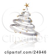 Clipart Illustration Of A Silver Spiraled Christmas Tree With Gold Ornaments And A Star Over A Reflecting White Surface