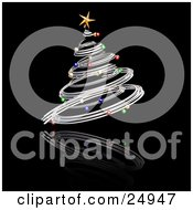 Clipart Illustration Of A Silver Spiraled Christmas Tree With Colorful Ornaments And A Gold Star Over A Reflecting Black Surface