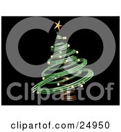 Clipart Illustration Of A Green Spiral Christmas Tree With Gold Ornaments And A Star On A Black Background