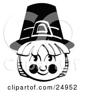 Clipart Picture Of A Male Pilgrim In A Black Hat Smiling by Andy Nortnik