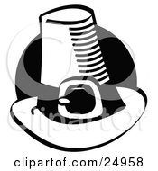 Clipart Picture Of A Tall Pilgrim Hat With A Buckle Around The Base In Front Of A Black Circle