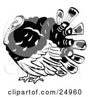 Clipart Picture Of A Fat Turkey Bird With His Head Tucked In His Neck