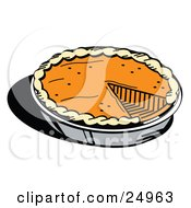 Clipart Picture Of A Fresh Thanksgiving Pumpkin Pie In A Pan Missing One Slice by Andy Nortnik
