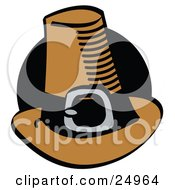 Brown Pilgrim Hat With A Buckle Around The Base In Front Of A Black Circle
