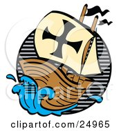 Clipart Picture of a Ship, The Mayflower, Carrying Pilgrims On The Sea by Andy Nortnik
