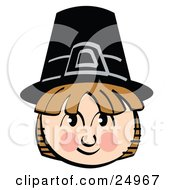 Clipart Picture Of A Smiling Pilgrim Boy Wearing A Black Hat