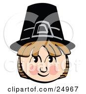 Smiling Pilgrim Boy Wearing A Black Hat