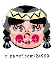 Clipart Picture Of A Friendly Native American Indian Girls Face With Braids Flushed Cheeks And A Headband