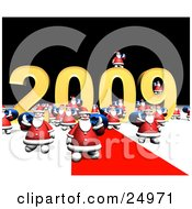 Clipart Illustration Of A Crowd Of Santas Carrying Blue Toy Sacks Over Their Shoulders And Walking Along A Red Carpet In Front Of The New Year Of 2009 Sign by Eugene