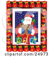 Santa Claus Holding Gifts And Teddy Bears Surrounded By A Border Of Toy Sacks With A Countdown To Xmas