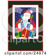 Clipart Illustration Of Santa On A Snowy Night Stuffed Animals And Gifts Bordered By White Red And Green